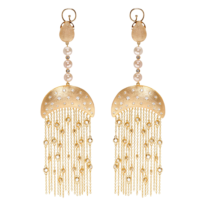 Ammanii Queen Nefertari Vermeil Gold Drop Earrings with Charmed Tassels