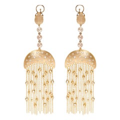Ammanii Queen Nefertari Vermeil Gold Drop Earrings with Charmed Tassels