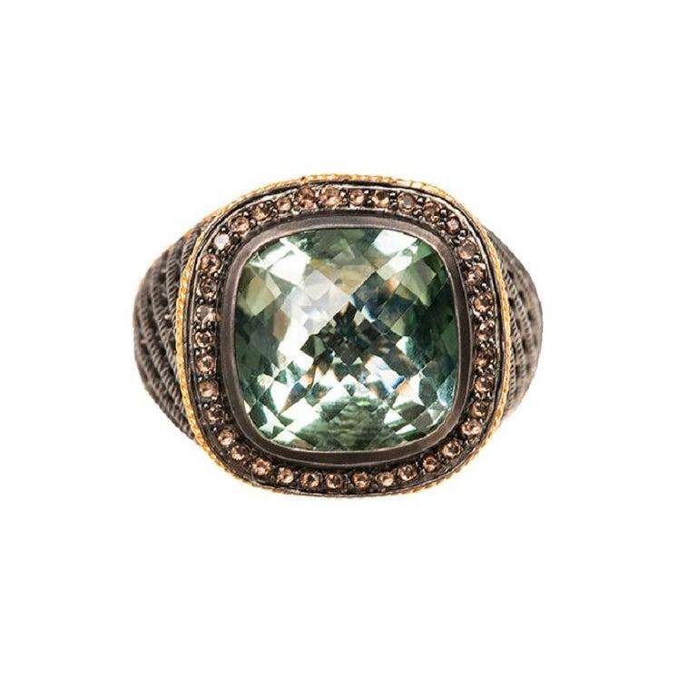 7a75c8146a6ff Ammanii Signet Black Ruthenium Ring with Gemstone