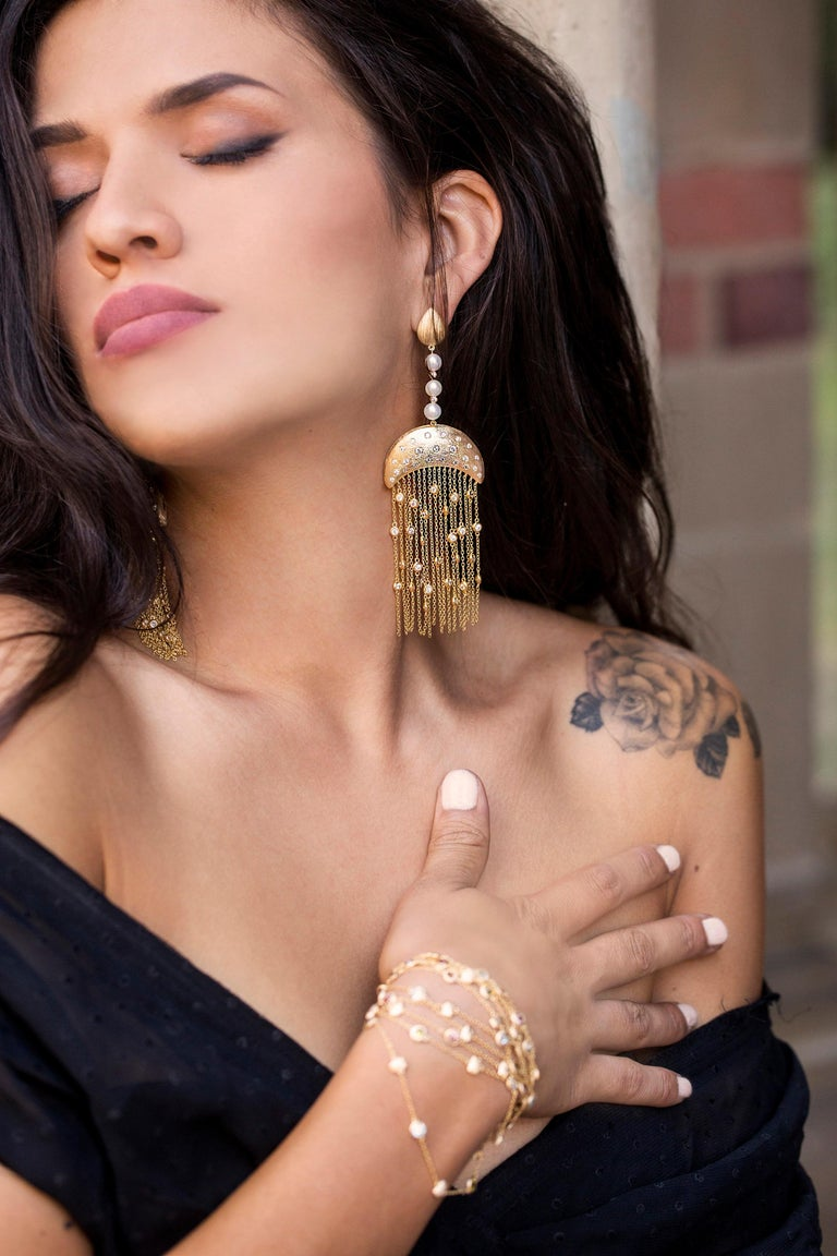 Ball Cut Ammanii Vermeil Gold Drop Earrings with Freshwater Pearls and Tassels For Sale