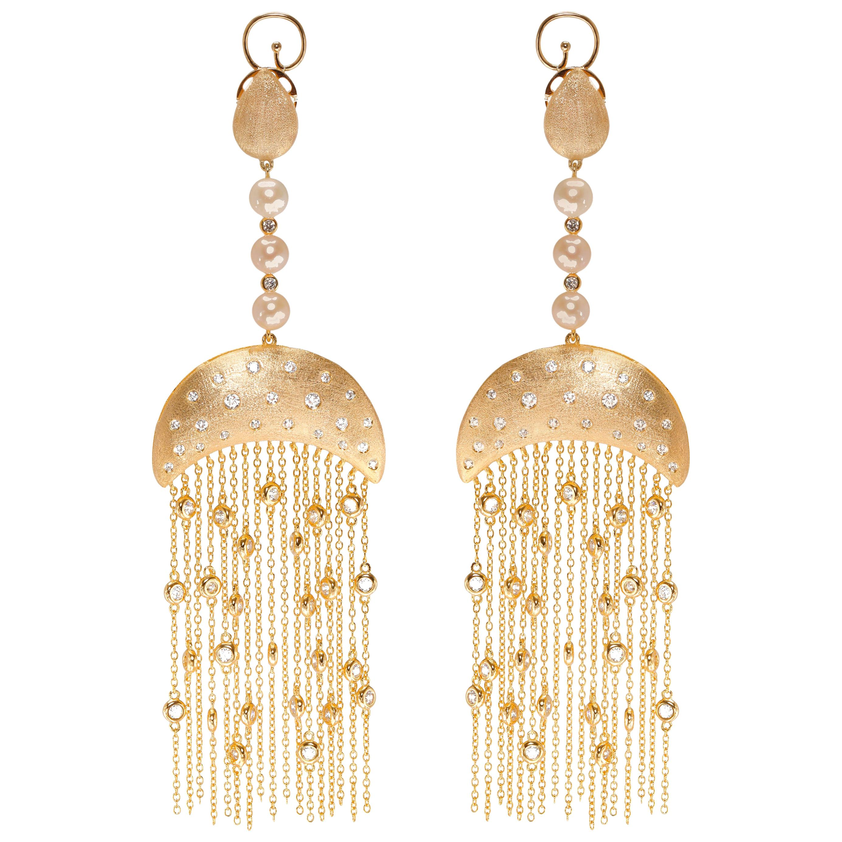 Ammanii Vermeil Gold Drop Earrings with Freshwater Pearls and Tassels