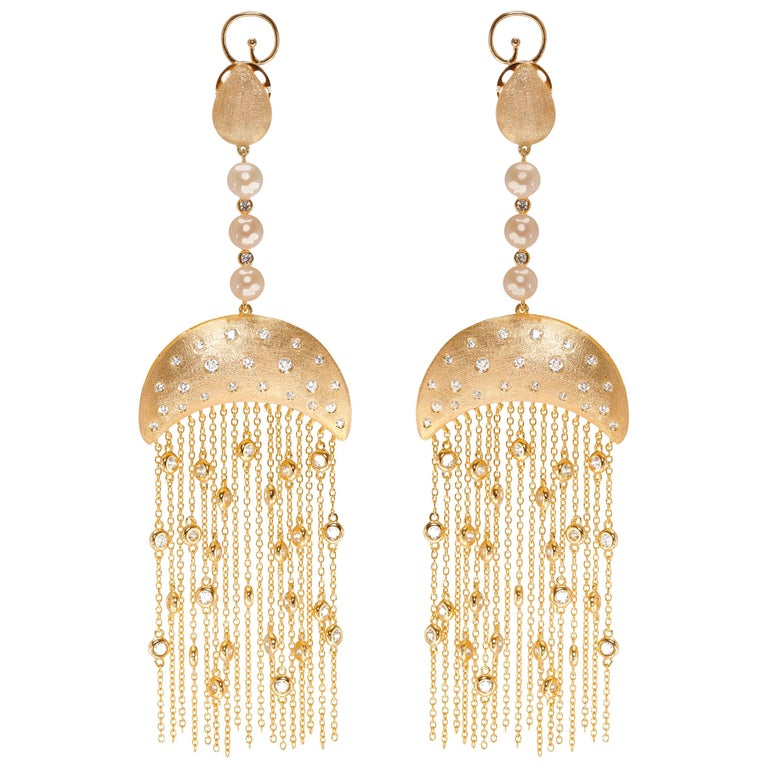 Ammanii Vermeil Gold Drop Earrings with Freshwater Pearls and Tassels For Sale