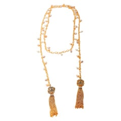 Ammanii Vermeil Gold Long Lariat with Pearls and Tassels