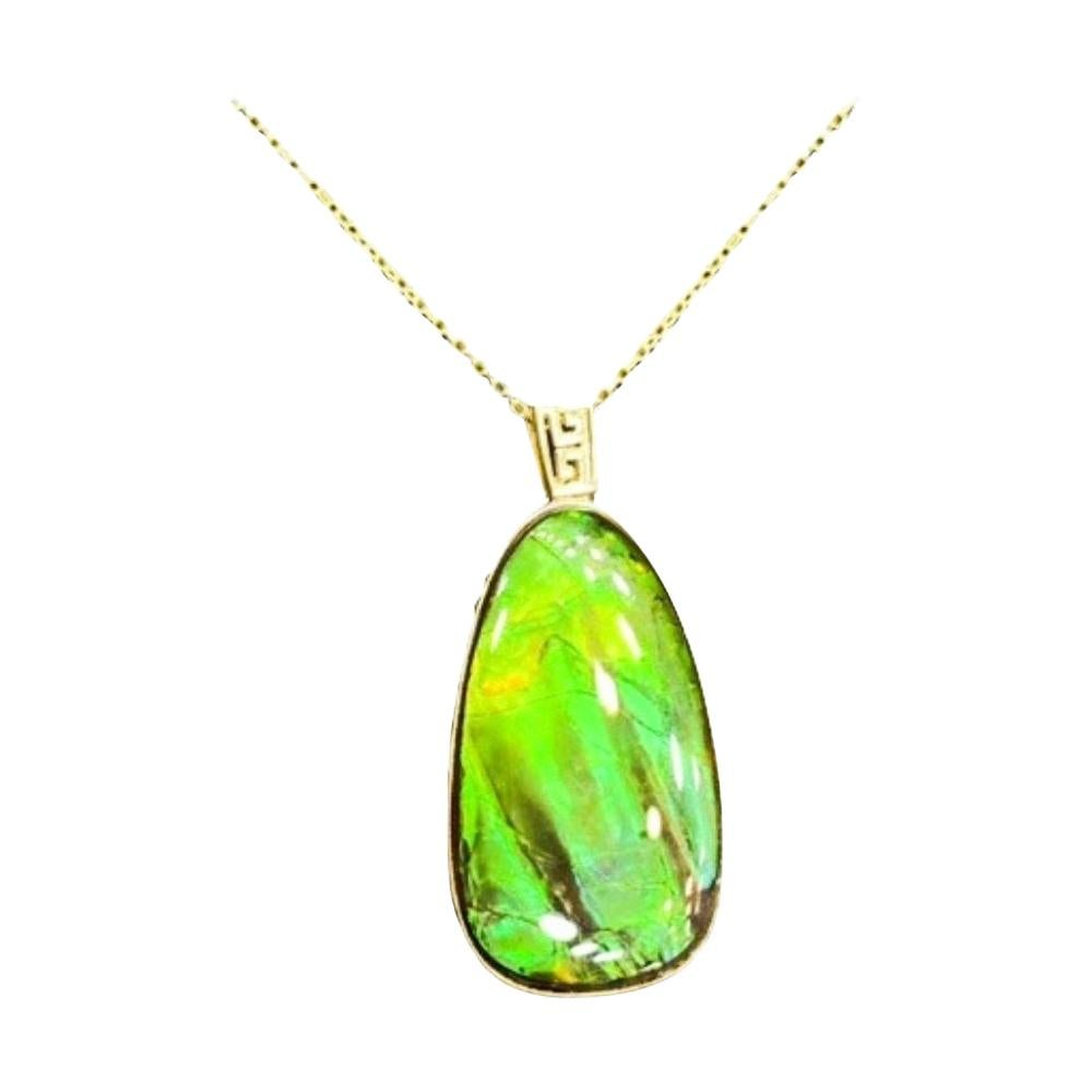 Ammolite Necklace 24k Yellow Gold