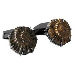 Ammonite Negative Silver Cufflinks, Limited Edition