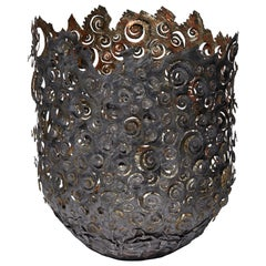 Ammonite Vessel, a Unique Steel & Moon Gold Sculptural Vessel by Claire Malet