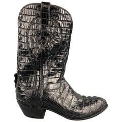 AMMONS Size 9.5 Black Full Hornback Alligator Pull On Cowboy Boots