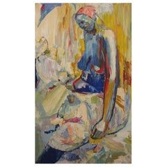 Amon Kotei Ghanaian Artist a Number of Women Oil on Canvas