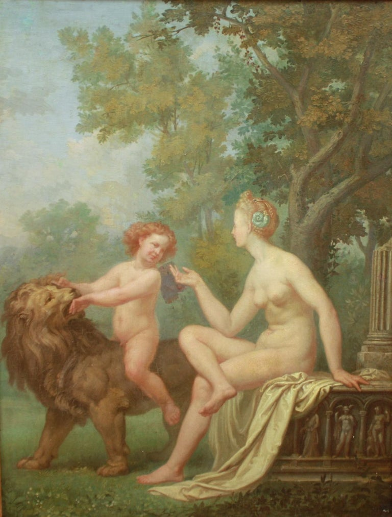 Oil painting on panel depicting a winged cupid riding a lion and gazing at Venus sitting at the right. Cupid having subdued the lion symbolises the triumph of love: Amor Vincit Omnia. The naked Venus is sitting on an ancient relief fragment and