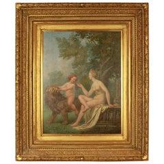 Amor Vincet Omnia, Öl auf Holzverkleidung, Follower School of Fontainebleau