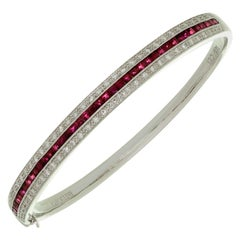Amoro Ruby Diamond White Gold Bangle Bracelet