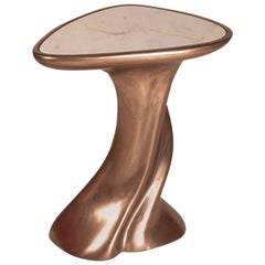 Amorph Abbi Side Table Bronze Finish with White Marble Top