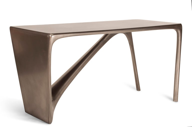 Wood Amorph Astra Desk, Nickel Finish For Sale