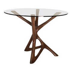 Amorph Ava Center or Dining Table, Solid Wood Stained Graphite Walnut