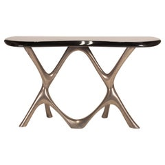 Amorph Avatar Console Table, Nickel Finish with Black Lacquer