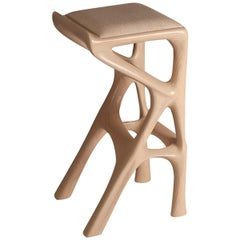 Amorph Chimera Bar Stool, Stained Asian Sand with Upholstery