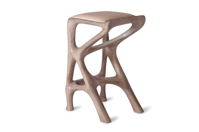 Modern Amorph Chimera Bar Stool, Stained Gray Oak, Counter Height For Sale