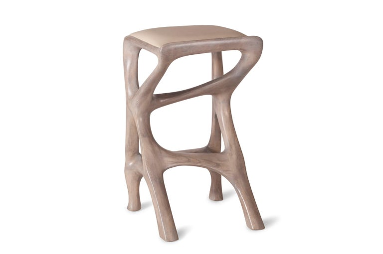 American Amorph Chimera Bar Stool, Stained Gray Oak, Counter Height For Sale