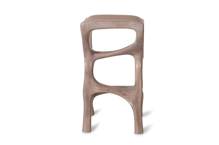 Carved Amorph Chimera Bar Stool, Stained Gray Oak, Counter Height For Sale