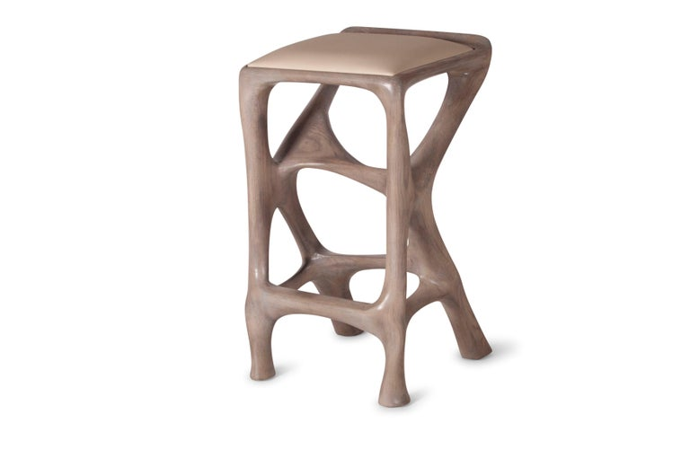Amorph Chimera Bar Stool, Stained Gray Oak, Counter Height In New Condition For Sale In Gardena, CA