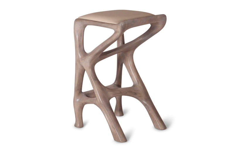 Contemporary Amorph Chimera Bar Stool, Stained Gray Oak, Counter Height For Sale