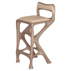 Amorph Chimera Bar Stool with Back, Stained Gray Oak, Counter Height