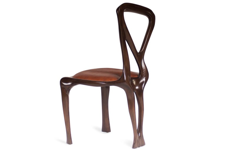 Carved Amorph Gazelle Dining Chair, Solid Wood, Stained Graphite Walnut For Sale