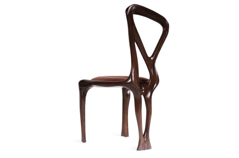 Contemporary Amorph Gazelle Dining Chair, Solid Wood, Stained Graphite Walnut For Sale