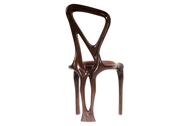 Ash Amorph Gazelle Dining Chair, Solid Wood, Stained Graphite Walnut For Sale