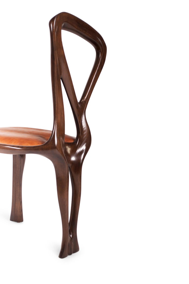 Amorph Gazelle Dining Chair, Solid Wood, Stained Graphite Walnut For Sale 1