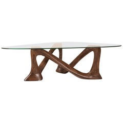 Amorph Hermosa Coffee Table with Tempered Glass, Solid Wood in Graphite Walnut