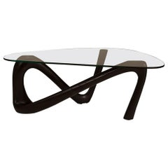 Amorph Iris Coffee Table with Glass Ebony Stain