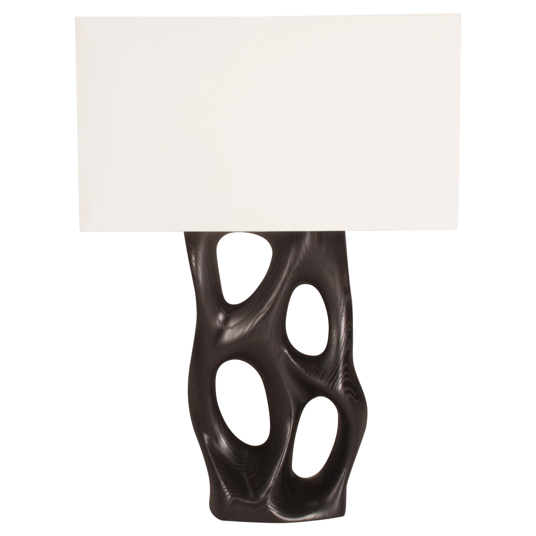 Amorph Loop Table Lamp, Ebony Stained, Ivory Silk Shade