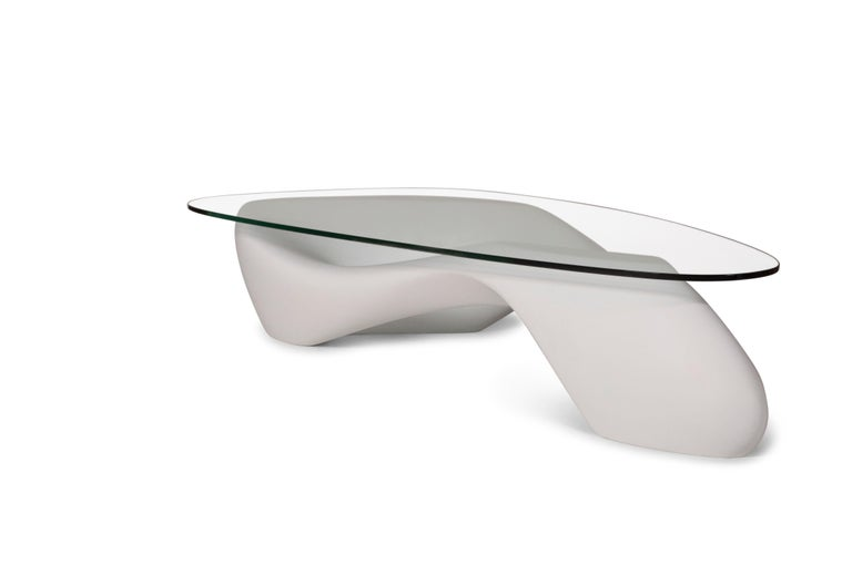 Modern Amorph Lust Coffee Table White with Organic Glass For Sale