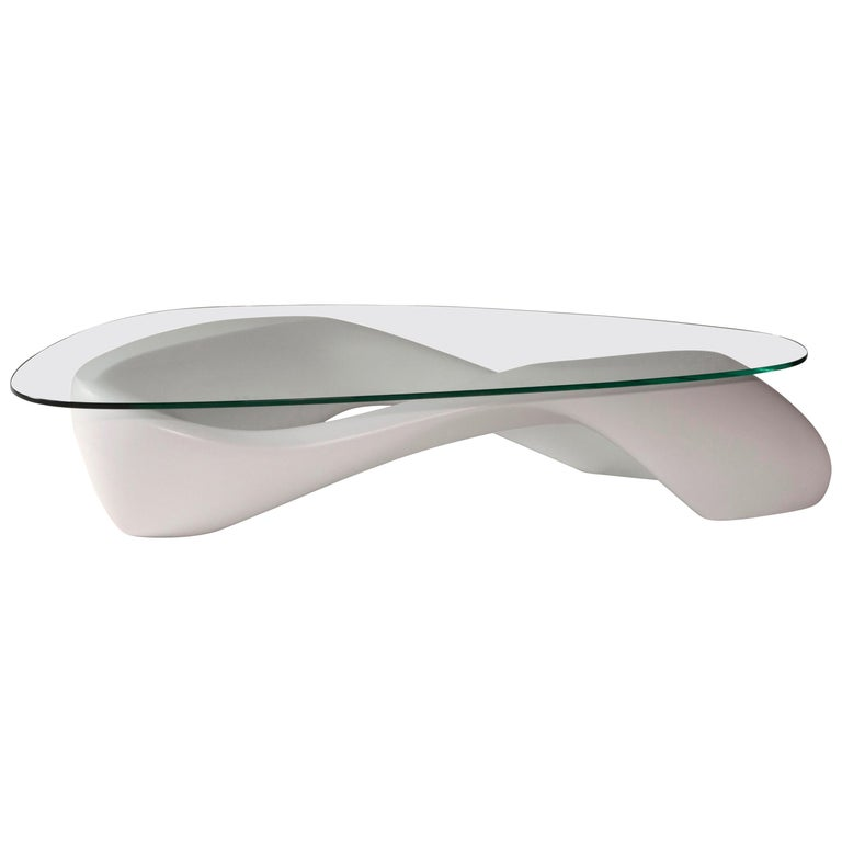 Amorph Lust Coffee Table White with Organic Glass For Sale