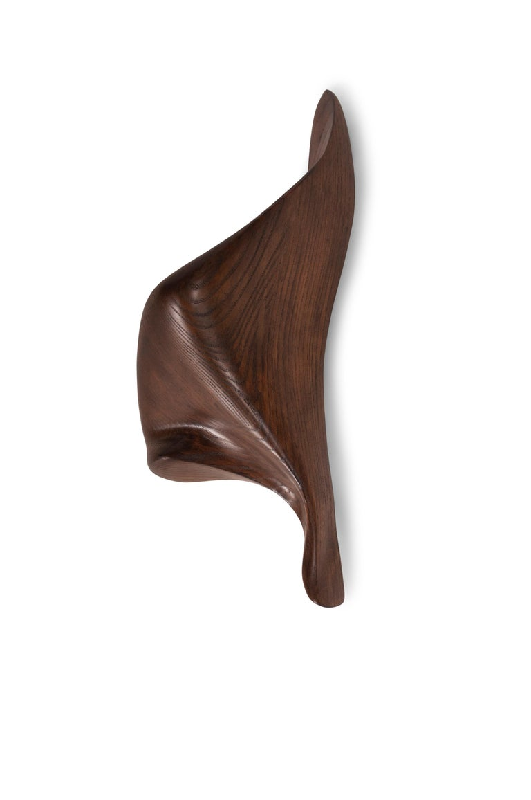 Wall light sconces is made out of wood with graphite walnut stained finish. Dimension 9