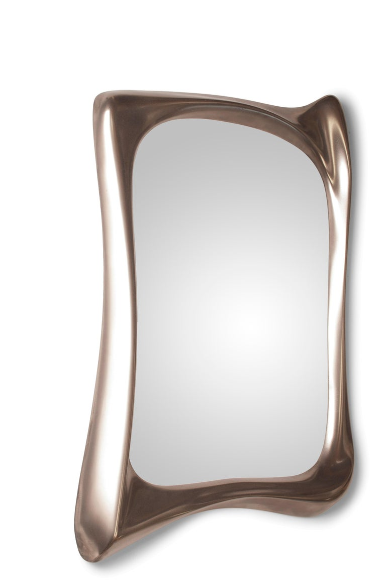 Modern Amorph Narcissus Mirror, Metal Finish Nickel For Sale