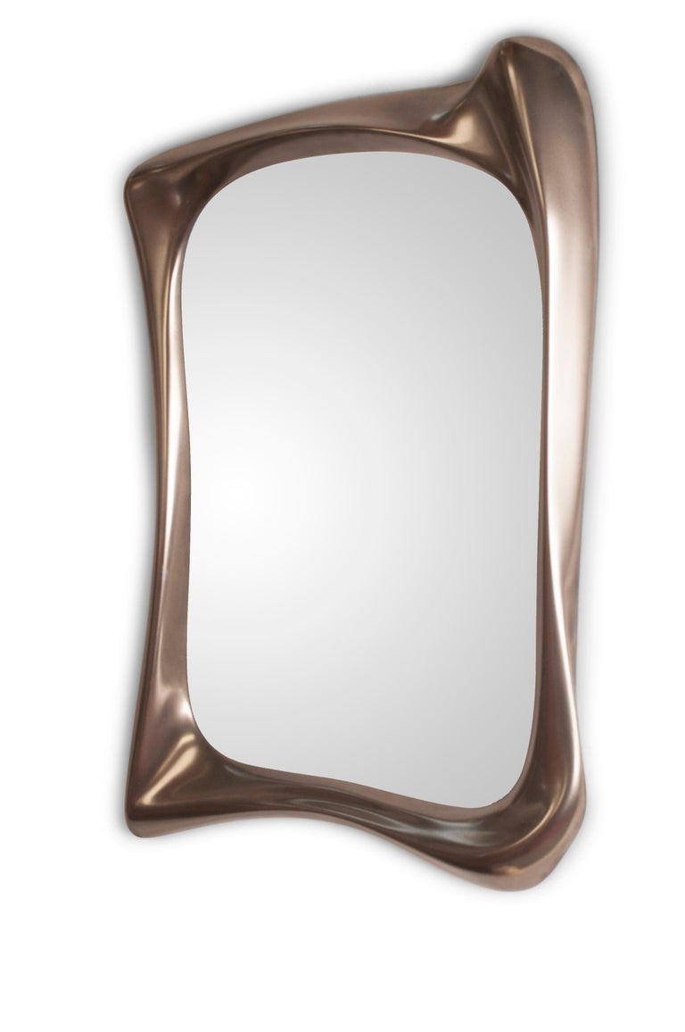 American Amorph Narcissus Mirror, Metal Finish Nickel For Sale