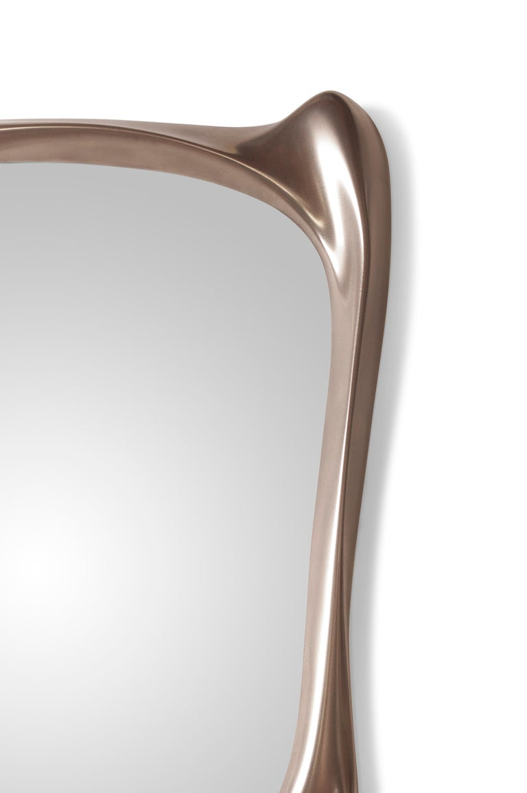 Carved Amorph Narcissus Mirror, Metal Finish Nickel For Sale