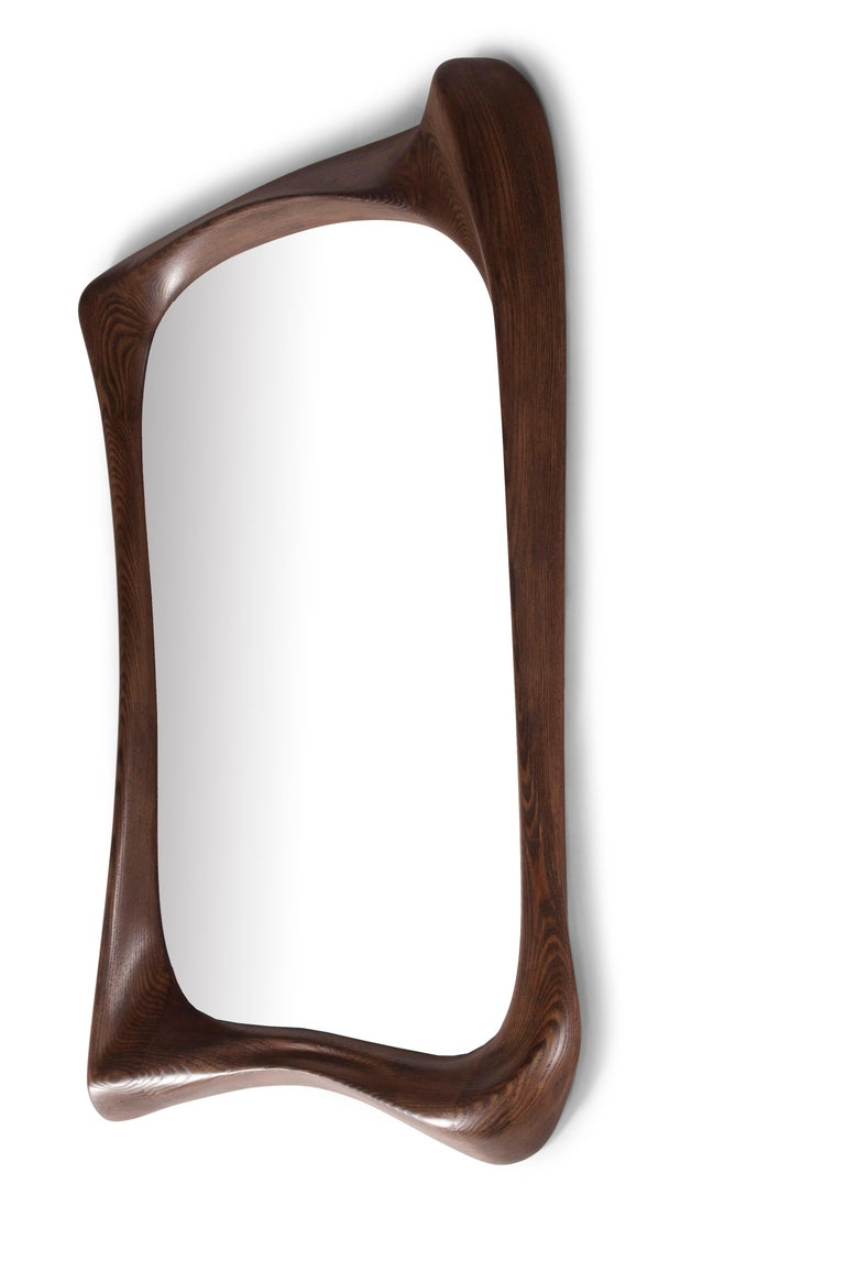 Unique style mirror, Solid wood with graphite walnut stained finish