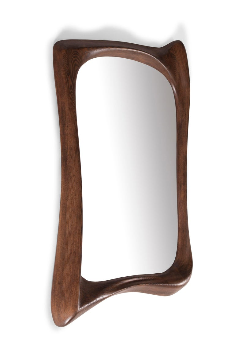 Modern Amorph Narcissus Mirror, Stained Graphite Walnut  For Sale