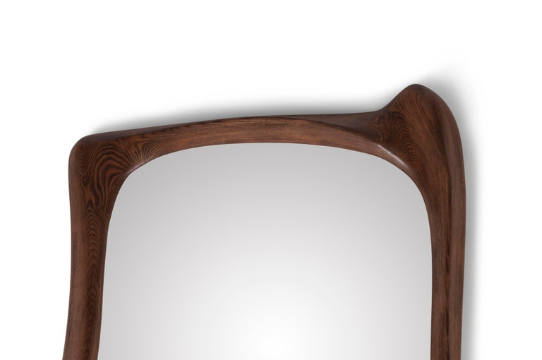 American Amorph Narcissus Mirror, Stained Graphite Walnut  For Sale