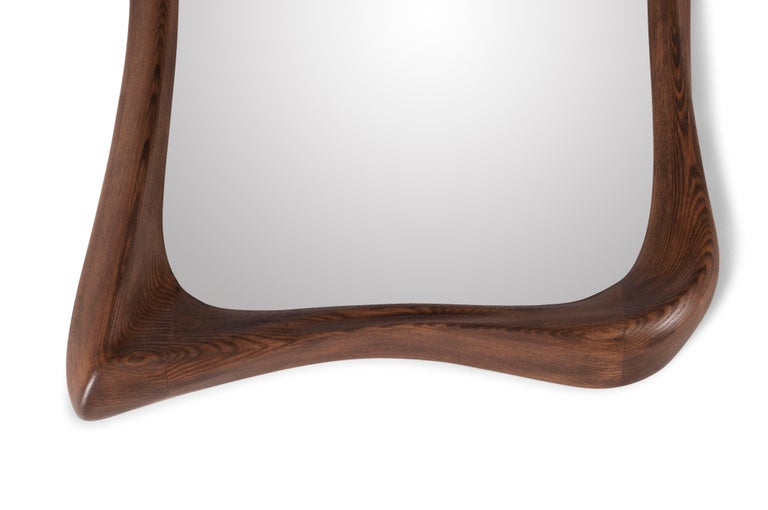 Carved Amorph Narcissus Mirror, Stained Graphite Walnut  For Sale