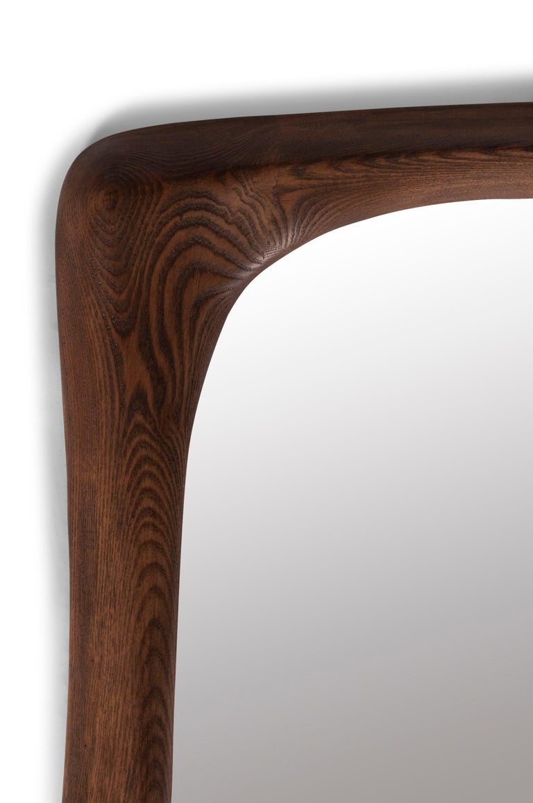 Contemporary Amorph Narcissus Mirror, Stained Graphite Walnut  For Sale