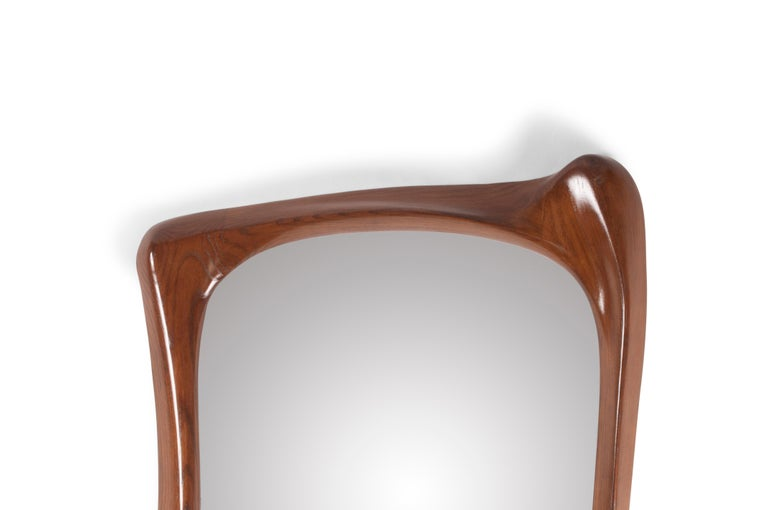 Modern Amorph Narcissus Mirror, Stained Walnut For Sale