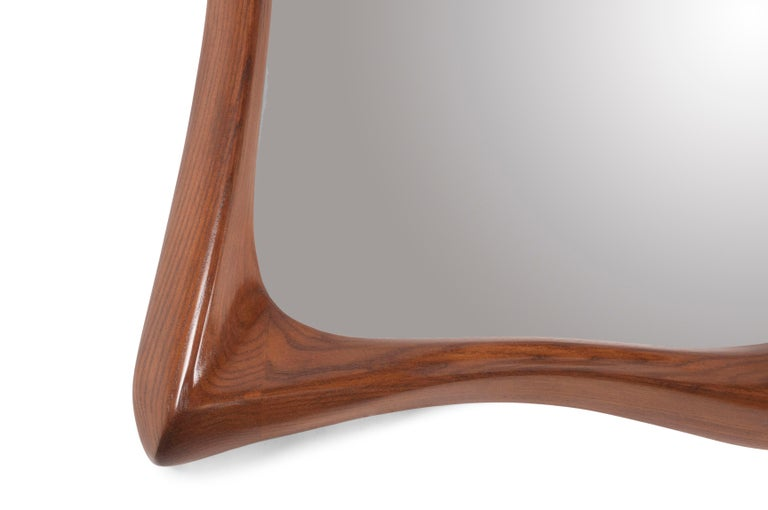 American Amorph Narcissus Mirror, Stained Walnut For Sale