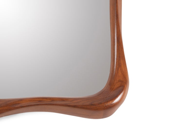 Carved Amorph Narcissus Mirror, Stained Walnut For Sale