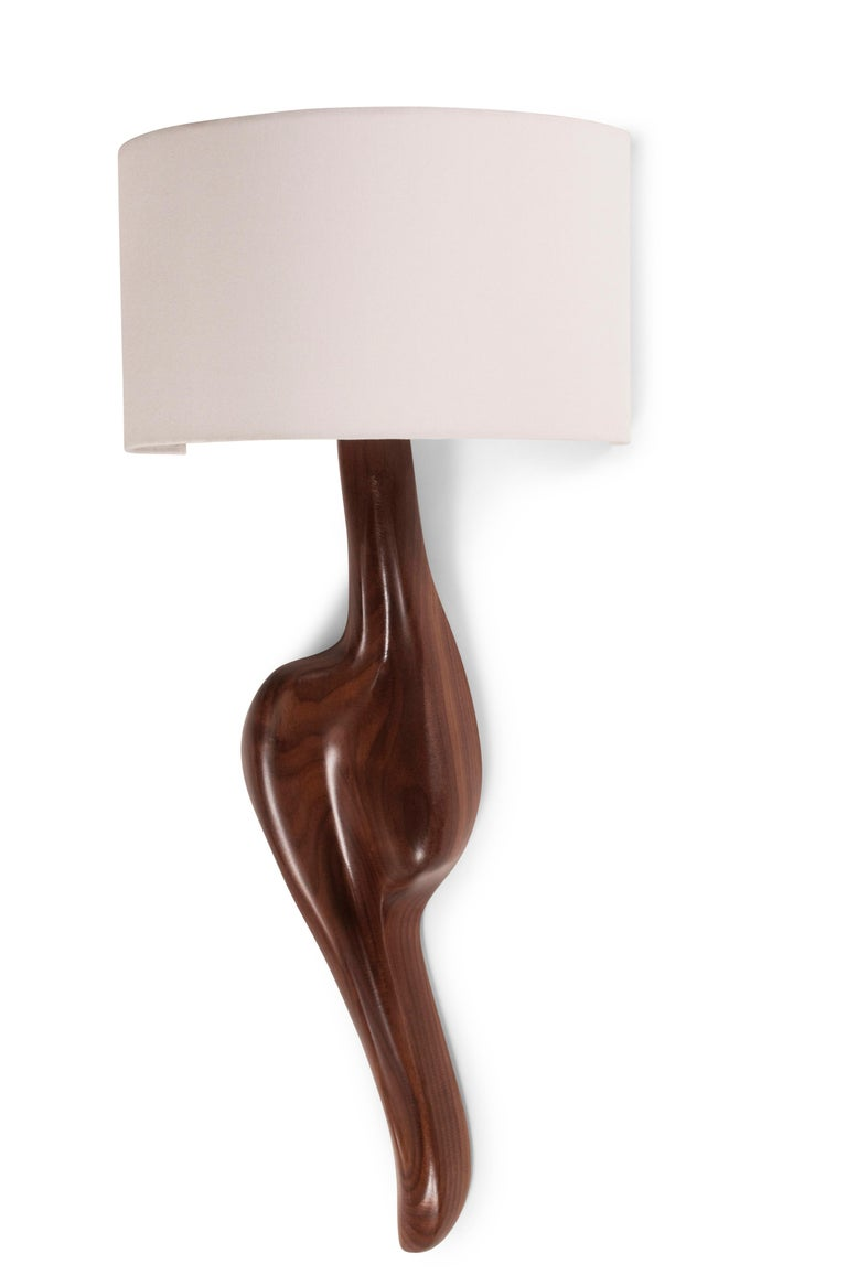 Modern Amorph Oralee Sconces, Natural Walnut with Ivory Sink Shade For Sale