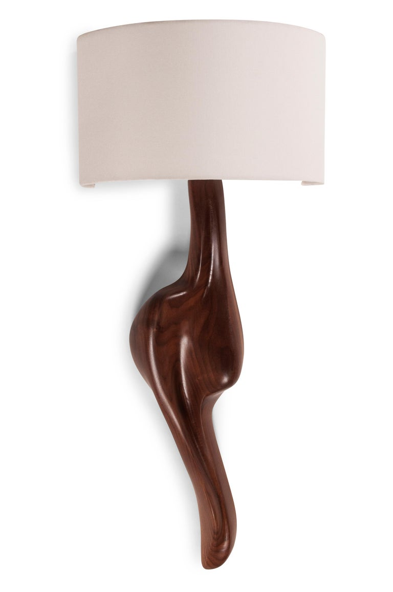Carved Amorph Oralee Sconces, Natural Walnut with Ivory Sink Shade For Sale