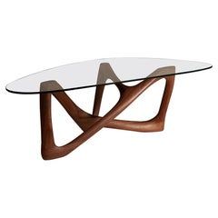 Amorph Walanty Coffee Table Solid Walnut Wood with Tempered Glass